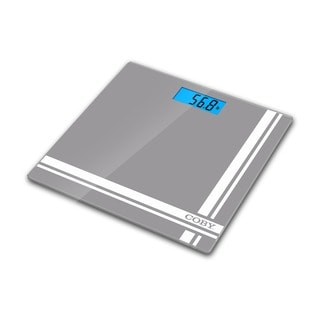 Coby Digital Glass Bathroom Scale with Bright Blue LCD Display