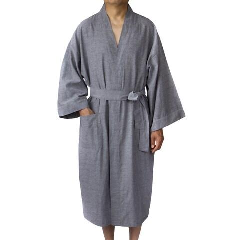 Leisureland Men's Oxford Cloth 48-inch Kimono Robe