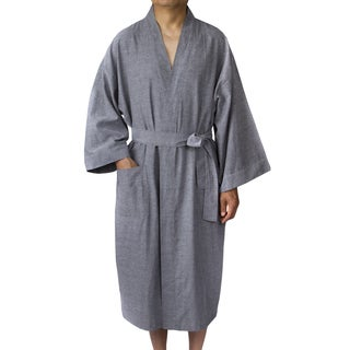 Leisureland Men's Oxford Cloth 48-inch Kimono Robe