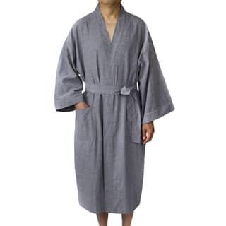 Leisureland Men's Oxford Cloth 48-inch Kimono Robe|https://ak1.ostkcdn.com/images/products/13448137/P20138325.jpg?impolicy=medium