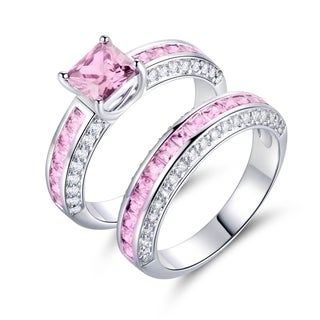 Peermont Jewelry 18K White Goldplated and Pink Cubic Zirconia Double Banded Ring