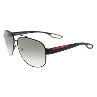 Prada Linea Rossa PS 58QS DG00A7 LJ SILVER Black Rubber Metal Aviator Grey Gradient Polarized Lens Sunglasses