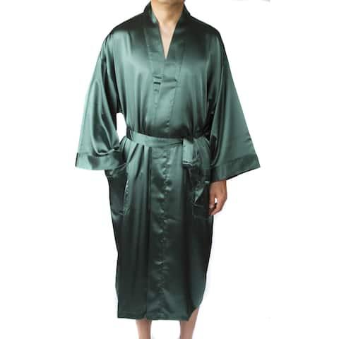 """Leisureland Men's Elastic Satin Charmeuse Long 48"""" Kimono Robe"""