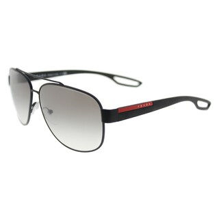 Prada Linea Rossa PS 58QS DG00A7 LJ SILVER Black Rubber Metal Aviator Grey Gradient Polarized Lens 63mm Sunglasses
