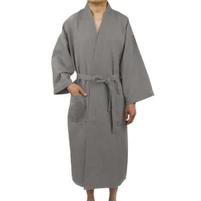 Leisureland Men's Waffle Weave 48-inch Kimono Robe