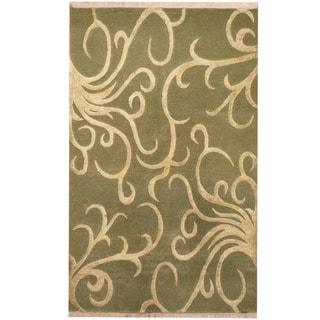 Herat Oriental Indo Hand-knotted Tibetan Wool & Silk Rug (3' x 5')