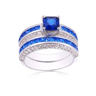 18K White Gold Plated and Blue Sapphire Cubic Zirconia Double Banded Ring