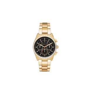 Michael Kors Women's MK6446 Vail Chronograph Black Dial Gold-Tone Stainless Steel Bracelet Watch