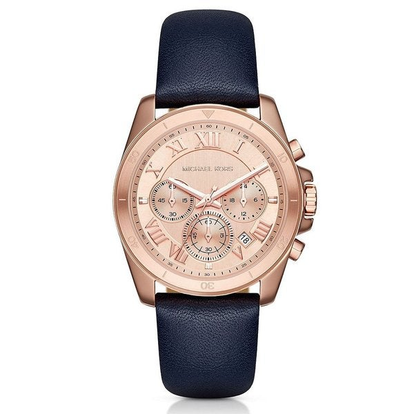 Michael Kors Women's MK2634 Brecken Chronograph Rose Gold Dial Navy Leather Watch