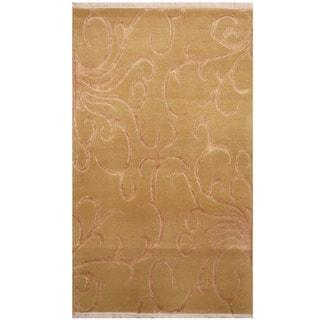 Herat Oriental Indo Hand-knotted Tibetan Wool & Silk Rug (3' x 5'2)