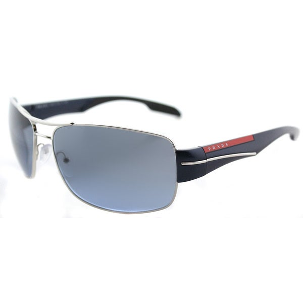 19b8fbb8dc0 Shop Prada Linea Rossa PS 53NS 1BC5I1 Silver Metal Aviator Blue Gradient  Lens Sunglasses - Free