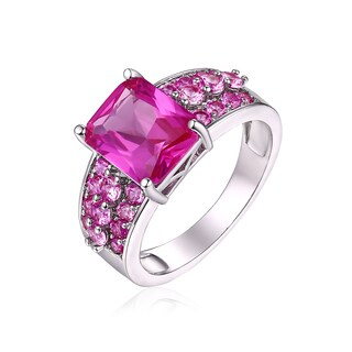 Peermont Jewelry 18k White Gold Plated 5ct. Ruby Corundum Ring