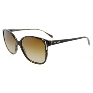 Prada PR 01OS 2AU6E1 Havana Plastic Square Brown Gradient Polarized Lens Sunglasses