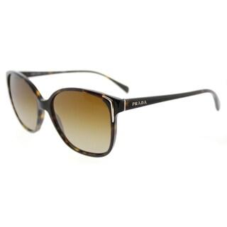 647e84235e3 Prada PR 01OS 2AU6E1 Havana Plastic Square Brown Gradient Polarized Lens  Sunglasses