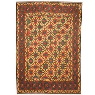 Herat Oriental Afghan Hand-woven Soumak Vegetable Dye Wool Kilim (3'6 x 5')