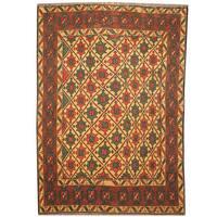 Handmade Herat Oriental Afghan Soumak Vegetable Dye Wool Kilim - 3'6 x 5' (Afghanistan)