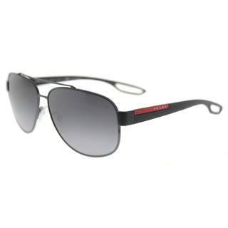 Prada Linea Rossa PS 58QS TFZ5W1 LJ SILVER Grey Rubber Metal Aviator Grey Gradient Lens 63mm Sunglasses