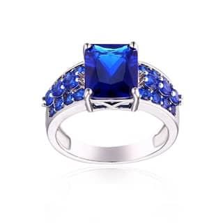 Rhodium Plated Brass and Sapphire Quartz Ring - Blue|https://ak1.ostkcdn.com/images/products/13448348/P20138378.jpg?impolicy=medium