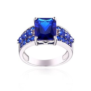 Rhodium Plated Brass and Sapphire Quartz Ring - Blue