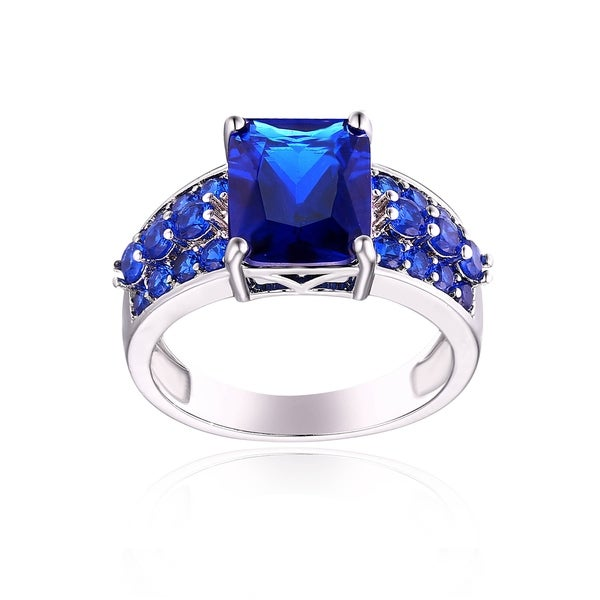 Rhodium Plated Blue Quartz Ring. Opens flyout.