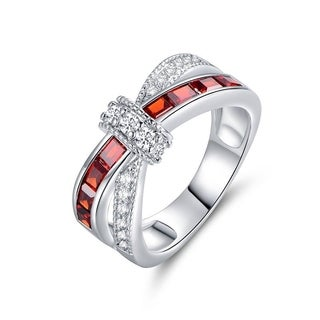 Rhodium Plated Brass and Red Cubic Zirconia Crisscross Ring