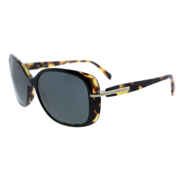 d80b4087335 Prada PR 08OS NAI1A1 Top Black Medium Havana Plastic Rectangle Sunglasses  Grey Lens