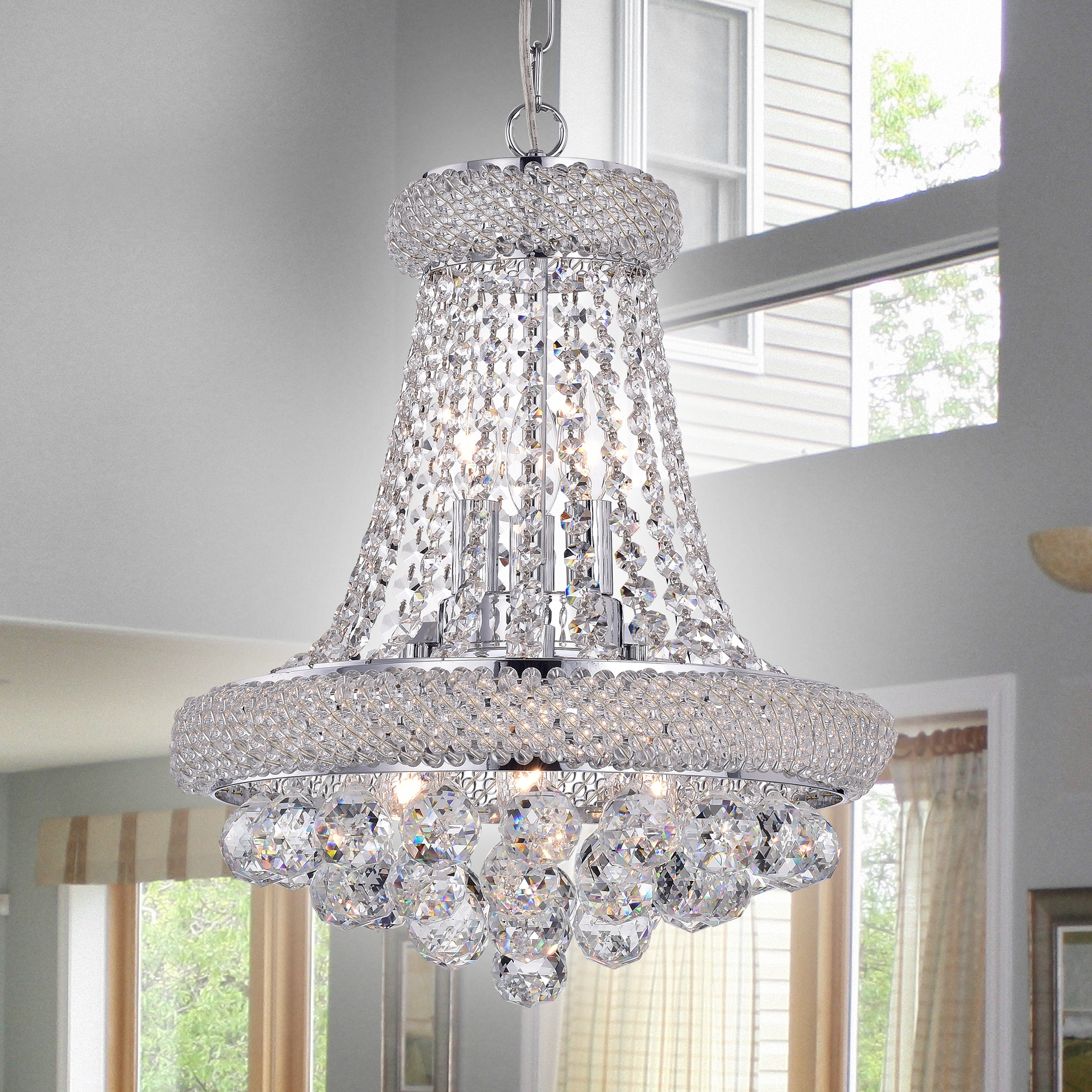 Warehouse of Tiffany Isidra Chrome and Crystal 15-inch Ch...