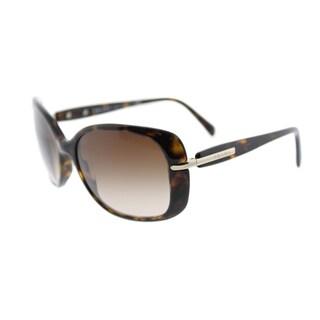 Prada PR 08OS 2AU6S1 Havana Plastic Rectangle Sunglasses Brown Gradient Lens