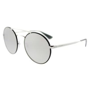 Prada PR 51SS 1AB2B0 Silver Black Metal Round Silver Mirror Lens Sunglasses