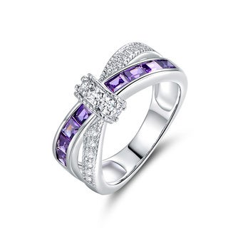 Peermont Jewelry 18K White Goldplated and Purple Cubic Zirconia Crisscross Ring