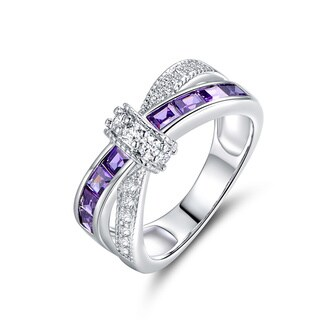 Rhodium Plated and Purple Cubic Zirconia Crisscross Ring