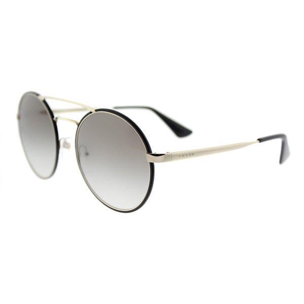 2fabf01e82cf Shop Prada PR 51SS 1AB0A7 Black Pale Gold Metal Round Grey Gradient Lens  Sunglasses - Free Shipping Today - Overstock - 13448442
