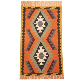 Herat Oriental Afghan Hand-woven Vegetable Dye Wool Kilim (3' x 5')