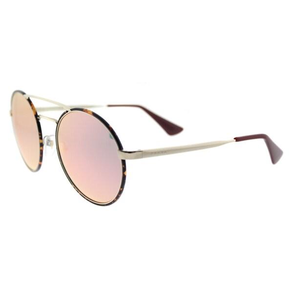 e5e6cb5bf2a Prada PR 51SS 2AU5L2 Pale Gold Dark Havana Metal Round Rose Gold Mirror  Lens Sunglasses