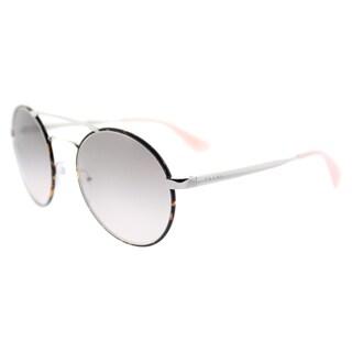 Prada PR 51SS 2AU4K0 Silver Dark Havana Metal Round Pink Gradient Grey Lens Sunglasses