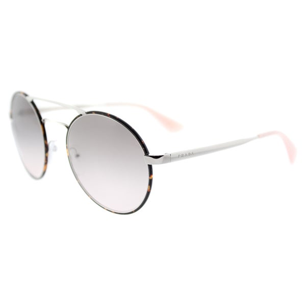 f0607fc0370 Prada PR 51SS 2AU4K0 Silver Dark Havana Metal Round Pink Gradient Grey Lens  Sunglasses