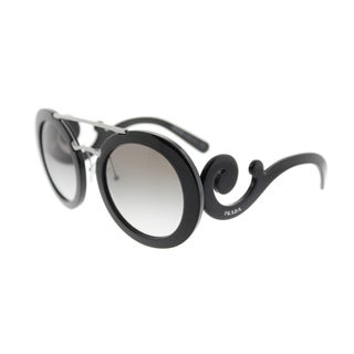 Prada PR 13SS 1AB0A7 Black Plastic Round Grey Gradient Lens Sunglasses