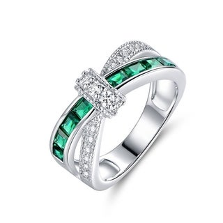 Rhodium Plated Nano Emerald Quartz and Cubic Zirconia Crisscross Ring - Green