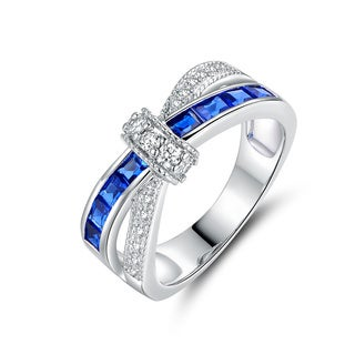 Rhodium Plated Brass Sapphire Quartz Spinel Crisscross Ring - Blue