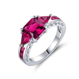 Rhodium Plated Brass and Ruby Quartz Ring - Pink