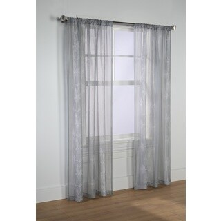 Elizabeth White and Grey Voile Embroidered Floral Curtain Panel