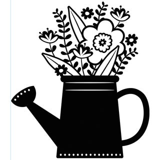 "Embossing Folder 4.25""X5.75""-Flowers In Watering Can"