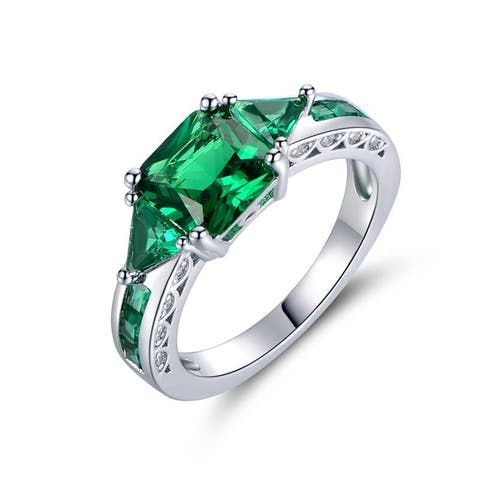Rhodium Plated and Emerald Quartz Ring - Green
