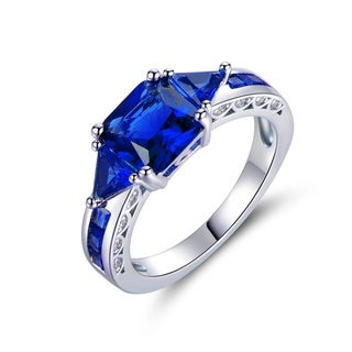 18k White Goldplated 4ct TGW Sapphire Ring