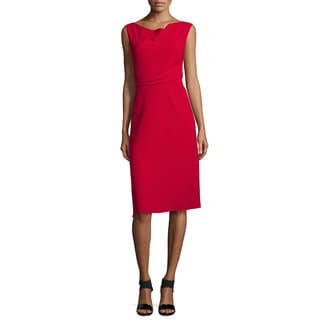 Elie Tahari Maize Red Pleated Waist Dress