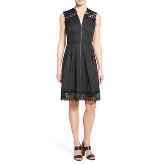 Elie Tahari Women's Cady Black Cotton Lace A-line Dress