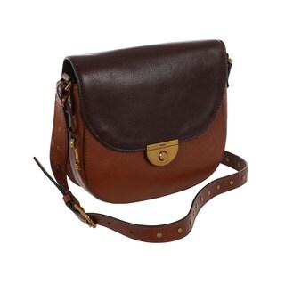 Fossil Pebbled Brown Leather Emi Saddle Bag