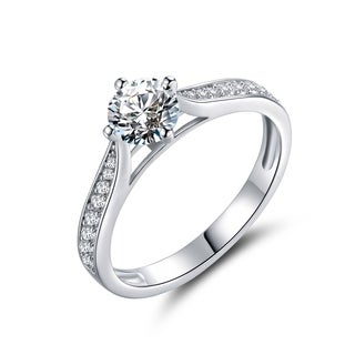 Rhodium Plated Cubic Zirconia Bridal Engagement Ring - White