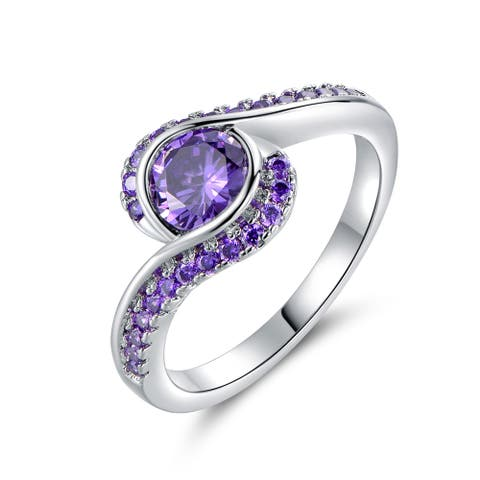 Rhodium Plated Purple Cubic Zirconia Bypass Ring