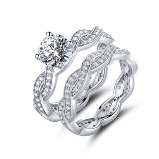 18k White Goldplated Cubic Zirconia and Opal Braided Engagement Ring Set